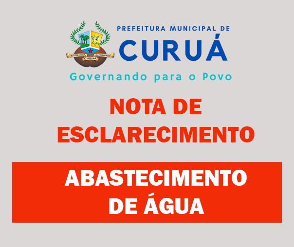 NOTA DE ESCLARECIMENTO – Bomba D'água bairro Castanheira